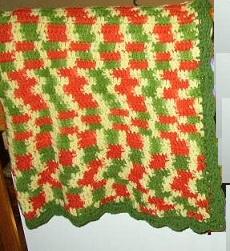 Retro & MOD -- Yellow, Green & Orange Afghan / Throw