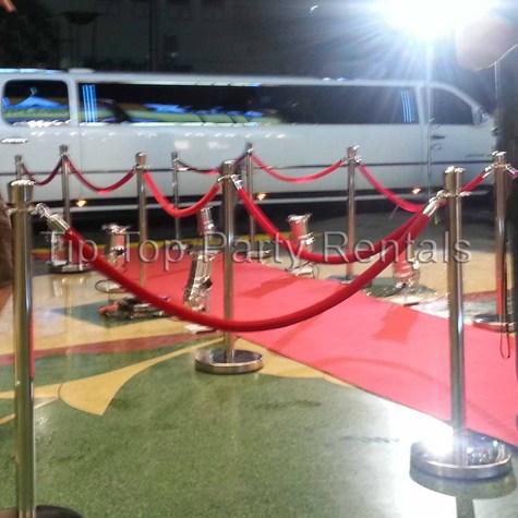 Red Carpet, Chrome Stanchions and Red Velvet Ropes