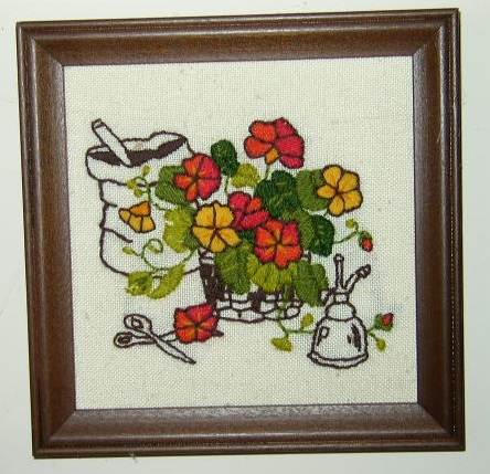 Item #1 - Garden Scene Stitchery