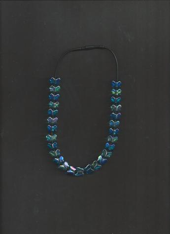 Blue butterflies beaded 12 inch black silkie necklace
