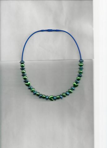 Dark Metallic Green hearts & Dark Metallic Dark Blue round beads on a 12 inch dark blue silkie necklace.