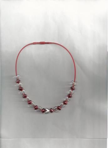 Red Metallic round beads and White transparent heart beads on a 12 inch red silkie necklace