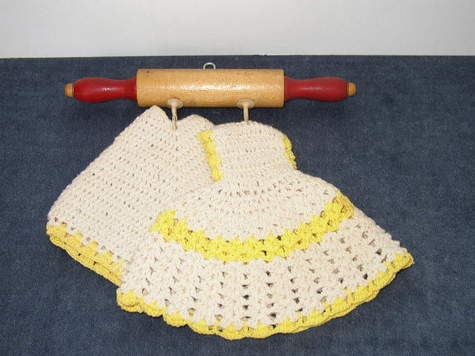 Item #1 - Set of Yellow & White, Crochet Dress & Pants