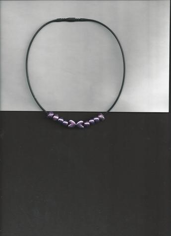 Dark Magenta Metallic heart and round beads on 12 inch black silkie necklace