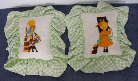 Pair of Lovey, Stitchery Pillows