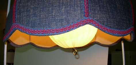 1980s Blue Denim Hanging Lamp