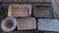 Antique - 3 rectangle pans, 1 lid, 2 strainers