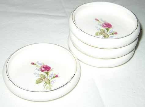 Nasco, Moss Rose,  Bone China Coasters