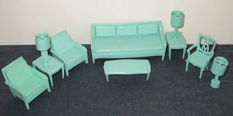 MPC Dollhouse Furniture - Teal Living Room
