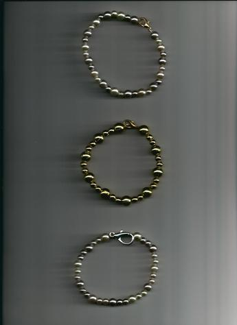 Gold, Light Purple & White Pearl, gold-plated wire & clasp bracelets. BUY SEPARATELY OR BUY ALL 3!
