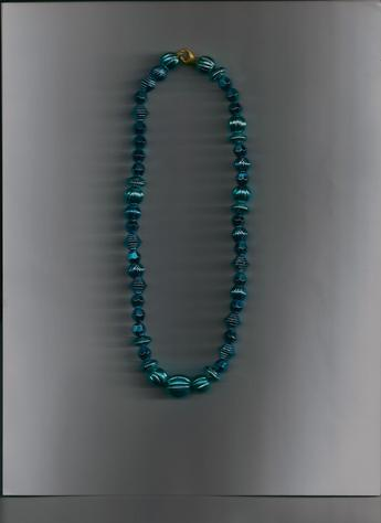 Bright Blue, Aqua Metallic 13-inch gold-plated clasp necklace.