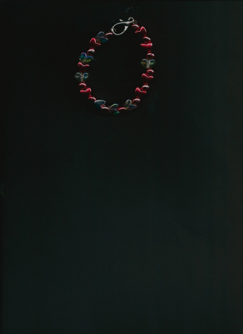 Metallic Red & Transparent White Hearts with Single-Metallic Silver Heart bracelet.