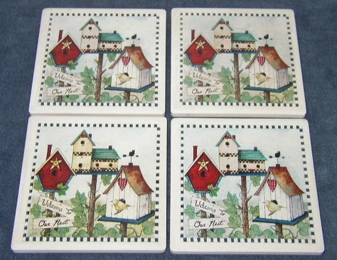 Birdhouse, Tile Coasters