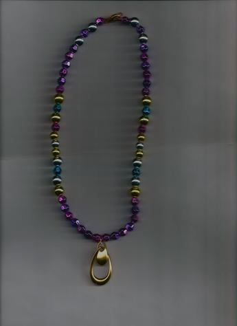 Eclectic? You decide! Very pretty & stylish multi-colored beaded 12-inch pendant necklace. EYE-CATCHINGLY SEXY!