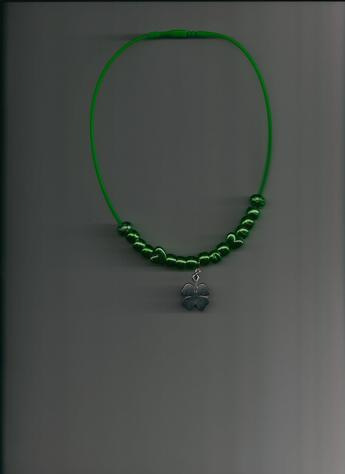 Lucky Charm Necklace! Stylishly Fun & Comfortable Four-Leaf Clover on 12-inch Lime Green Silkie Necklace.
