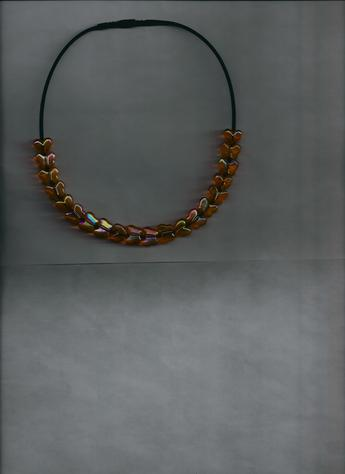 Orange & Yellow transparent Hearts & Butterflies, Lightweight Necklace!
