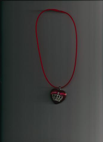 Majestic Red Heart Platinum Tone Alloy Rhinestone cross & crown pendant on a 12-inch red silkie necklace. LIGHTWEIGHT!