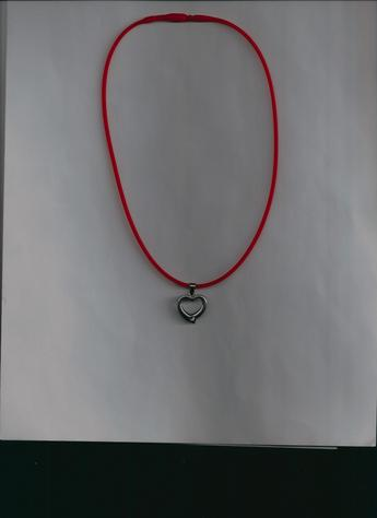 Stainless Steel Rhinestone Heart Charm on red silkie necklace. COMFORTABLE & STYLISH! (light background)