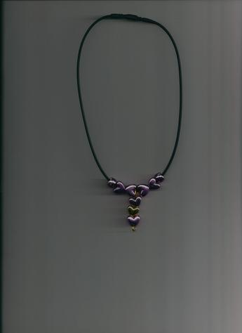 Purple & Gold Hearts on a 12-inch Black silkie necklace. LIGHTWEIGHT & STYLISH