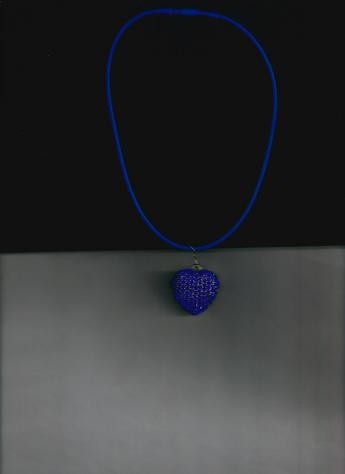 Sparkling (faux) Blue Sapphire Rhinestone Heart Pendant  12-inch Blue silkie necklace CAN BE WORN TWO WAYS!