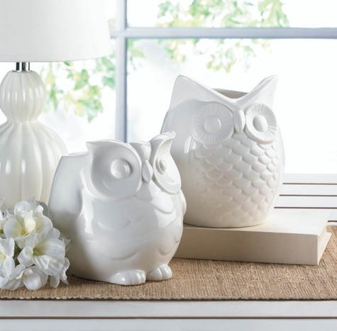 Friendly  White  Owl  Vase