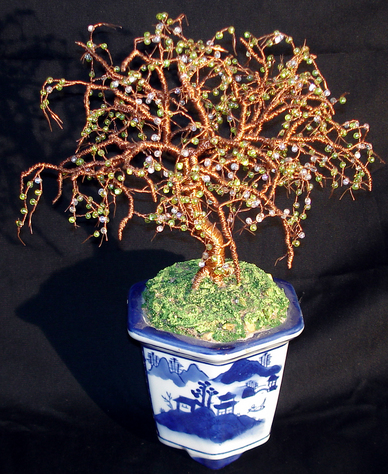 Beaded Bonsai Wire Tree Sculpture