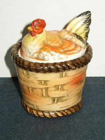 Vintage Porcelain, Hen on Basket Trinket Box