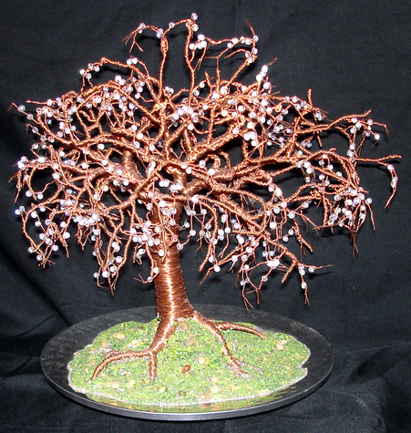 Crystal Willow - Wire Tree Sculpture, with glass beads