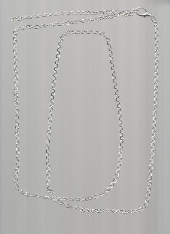 Brightly-stylish Silver-plated 37-inch, easy-to-clasp chain. CAN BE USED AS A BELT. Brighten up any skirt, pants, jeans, shorts!