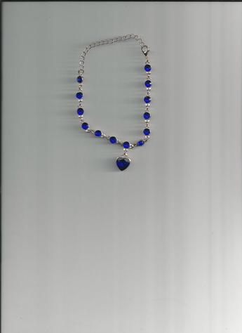 Stunningly Beautiful Blue Sapphire Heart Charm Pendant Multi-Length Clasp Bracelet (front)