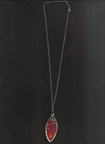 Multi-Colored (Orange, Yellow, Pink, Purple) Rhinestones Pendant 13-inch, stainless steel clasp necklace.(On a dark background)