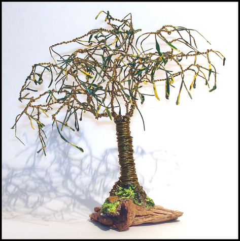 Mini Oak with Leaves  Wire Tree Sculpture