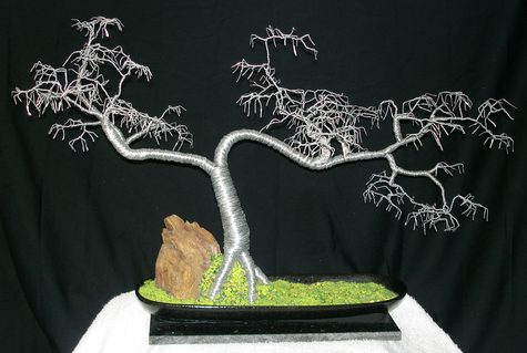 Cascade No.5 Wire Tree Sculpture, with hammered leaves