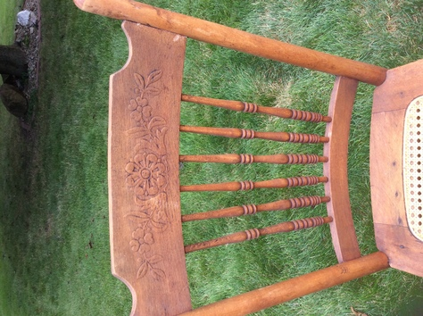 pressed back caned seat 4 in good condition