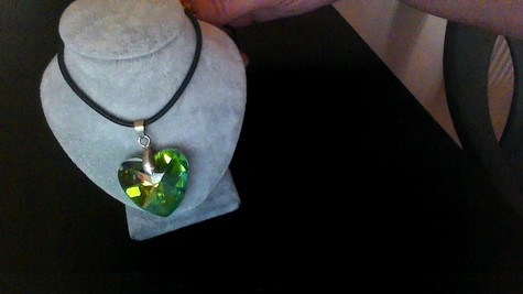 "BEAUTIFULLY STUNNING EMERALD GLASS PENDANT ON BLACK SILKIE 12"" NECKLACE (CAPTURES THE LIGHT AT EVERY ANGLE!)"