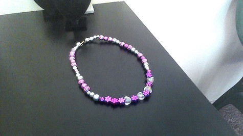 Purple and Silver Metallic 12-inch Black Silkie Necklace