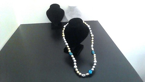 Silver, Gold Round Metallic Beads with Blue Metallic Flower beads on 14-inch Brass-plated wire, clasp necklace. STYLISH!