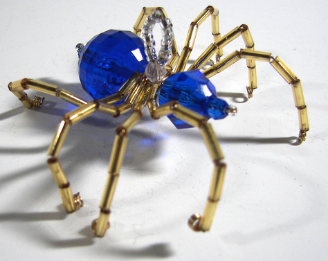 Christmas Spider Ornament-Blue and Gold