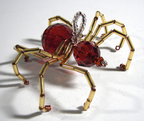 Christmas Spider Ornament - Brown and Gold