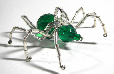 Christmas Spider Ornament - Green and Silver