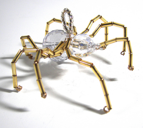 Christmas Spider Ornament-Crystal and Gold