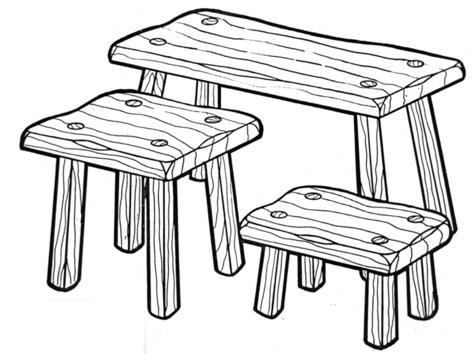 Fireside Stool Set #173 -  Woodworking / Craft Patterns.