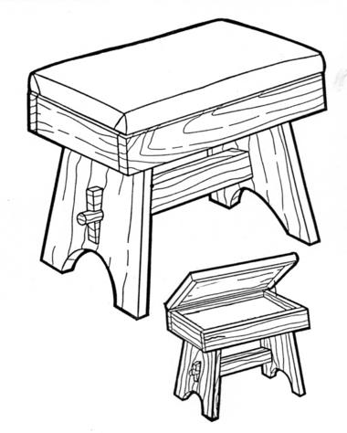 Storage Stool # 175 - Woodworking / Craft Patterns.