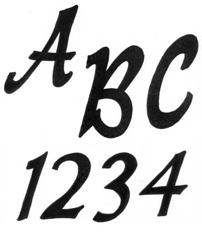 """TRACEABLE ALPHABET #117-  2.5"""" TALL."""