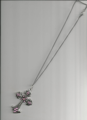 "A BEAUTIFULLY-DESIGNED PINK RHINESTONE CROSS PENDANT 13"" NECKLACE."