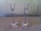 HEAVY PAIR OF GLASS CANDLESTICK HOLDERS