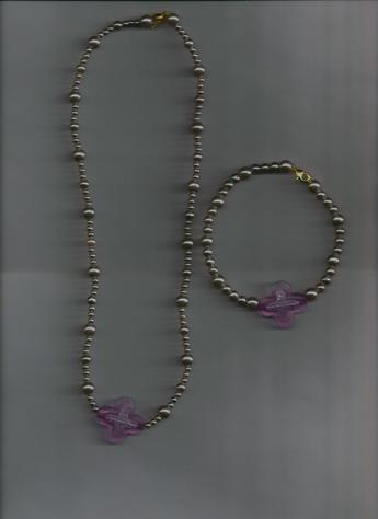 White Pearl Beads Purple Cross Bracelet & Necklace Set.  LIGHTWEIGHT, VERY COMFORTABLE TO WEAR.