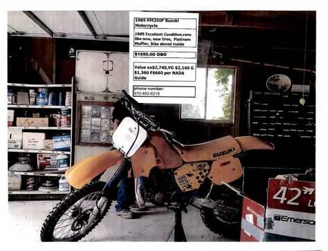 1985 RM250F Suzuki Motorcycle