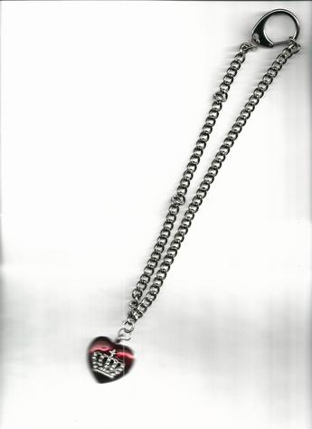 Majestic Rhinestone Cross & Crown Heart Pendant 14-inch stainless steel, big clasp necklace.