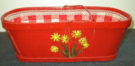Vintage, Red Basket with Cloth Liner